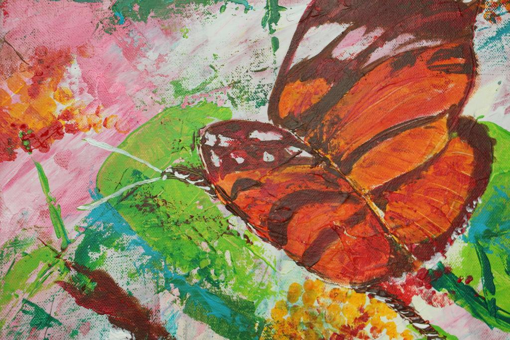 Schmetterling, Acryl auf Leinwand, 40 x 40 cm