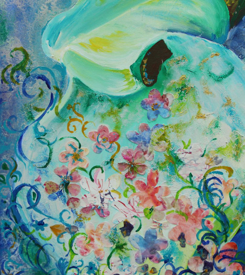 überfließende Calla, Acryl-Collage auf Leinwand
